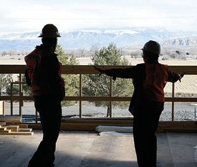 North Big Horn Hospital CEO Rick Schroeder and hospital board member Linda NeVille admire the view of the mountains from the new physical therapy department that is currently under construction. Patti Carpenter photo