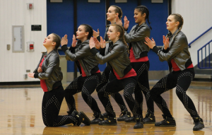 The Lovell High School dance team performs the squad's hip-hop routine during a recent home basketball team. Members of the hip-hop squad, which placed third at the state spirit competition last Wednesday in Casper, are (l-r) Kelsie Mollett, Kaitlyn Grant, Raynie Martin (above), Amber Mayes (below), Mila Patrisha and Sami Newman. Cindy Asay photo