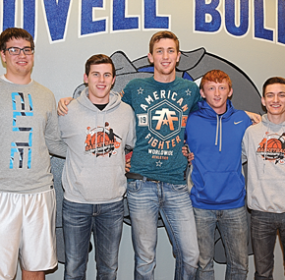 Earning all-conference honors for the Lovell Bulldogs at the conclusion of the 2015-16 season were (l-r) Trace Murphey, Beau Green, Nic Haskell, Brandon Teter (HM) and Jacob Newman (HM). David Peck photo