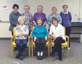North Big Horn Hospital and New Horizons Care Center volunteers were honored at a special luncheon held on Thursday, April 14: (back row, l-r)Sandi Armstrong, Janice Mangus, Judy Quarles, Marlene DuFloth and Caryl Turner and (front row) Rose Mae Tippetts, Marian Leonhardt and Debbie Wassmer. Courtesy Photo