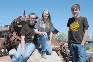 Rocky Mountain seventh-grade math team members (l-r) Taylor Despain, Devin Gilmore and Zane Horrocks won the State Math Contest at Northwest College April 27. Despain racked up 495 points to earn individual honors. David Peck photo