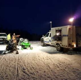 Volunteers gather in a staging area set up by emergency responders in the Big Horn Mountains during a search for two snowmobilers reported missing last week. courtesy photo/LaRae Dobbs