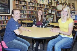 Salutatorians (right) for the Class of 2016 are (l-r) Metya McArthur, Jaclyn Caldwell and Savanna Savage. David Peck photo