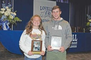 Charri McArthur and Beau Green pose with their awards after being named the Lovell High School female and male athletes of the year during the LHS spring awards night Tuesday. David Peck photo