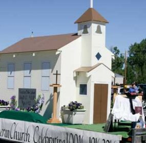 A little white church replicating the original Lutheran Church in Lovell was the overall winner at the Mustang Days parade held on Main Street in Lovell on Saturday. Patti Carpenter photo