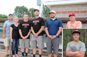 Posing at the senior league baseball field in Cowley Friday evening for a signing ceremony for Dawson Community College recruit Cole Wambeke are (l-r) Pat and Sonya Wambeke, Cole Wambeke, Lovell Mustangs coach Steven Durtsche, manager Michael Jameson and program general manager Ray Peterson. Joining Cole in Glendive will be Dakota Bond (inset). David Peck photos
