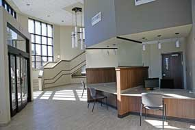 A spacious waiting area and a centralized check-in area are part of the new clinic building at North Big Horn Hospital. That will be open for viewing on Thursday evening during an open house celebration. Patti Carpenter photo