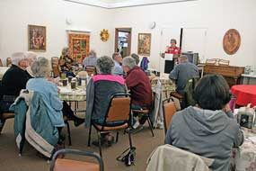 AARP volunteer Barbara Gast teaches a defensive driving course to senior citizens on Monday at the North Big Horn Senior Citizens Center in Lovell. Patti Carpenter photo