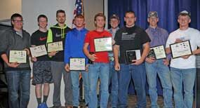 Lovell High School all-conference football players for 2016 are (l-r) Trace Murphey, Porter Nichols, Kaleb Mayes, Brandon Teter, Riley Abraham, Kade Gifford, Jaret Collins, Reece May and Tyler Teter. David Peck photo
