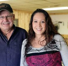 Brandin' Iron Restaurant co-owner Craig Trumbull (left) and Lovell Area Chamber of Commerce customer service award winner Lexi Rae Carabay (right) take great pride in the customer service provided by the restaurant's staff and management. Patti Carpenter photo