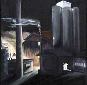 This oil painting of the Western Sugar factory in Lovell by local artist Bobbie Brown will be on display in Cheyenne through March 4 in the Governor's Capitol Art Exhibition at the Wyoming State Museum. courtesy photo